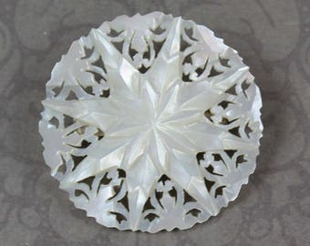 Vintage Carved Mother of Pearl Pierced Round Star Brooch