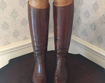 Antique Brown Leather Riding Boots with Wooden Boot Trees