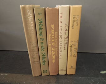 Yellow Dusty Brown Cream Book Stack - Autumn Bookshelf Decor Decorative Instant Library -  Vintage