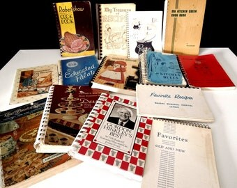 Spiral Bound Cookbooks Instant Collection - Mid to Late Century Vintage Recipe Books - Church Women, Club Cook Books
