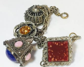 CIJ SALE Christmas JULY Beautiful Italian Peruzzi  Encrustation Art glass Fob Charm Bracelet