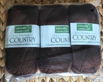 Naturally Caron Country Yarn Chocolate Truffle Brown 3 Skeins Merino Wool
