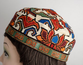 Thank you for buying handmade, This is silk embroidery head wear, kufi, skullcap hat, cap, uzbek, turkmen, just unique hat