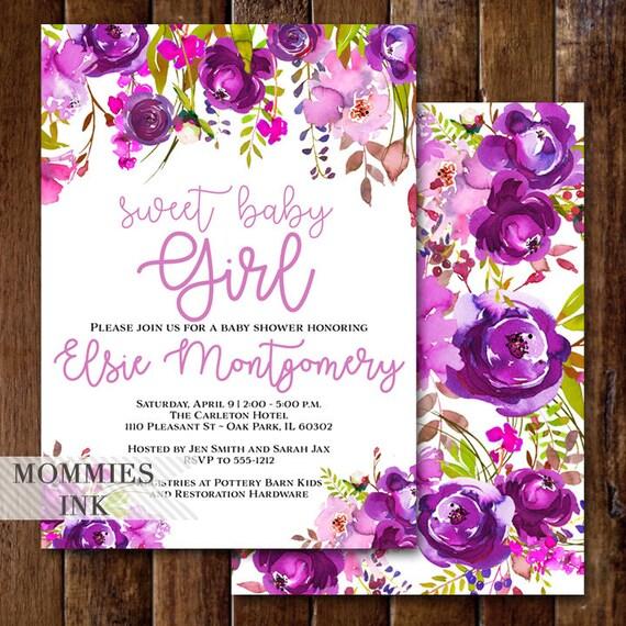 Baby Shower Invitation Its A Girl Invitation Purple Baby Shower
