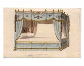 1819 FURNITURE BED ENGRAVING - original antique print - home decorative hand colored engraving