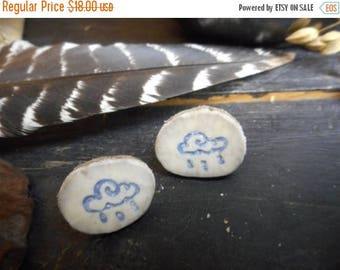 SALE Rain Cloud. Genuine deer antler post stud earrings with carved & stained Clouds and rain drops. #3