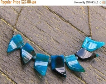 SALE THE RAPTUROUS Veil. Ocean Blue Waves. Curved Agate fringe necklace. BOho Pennant Nekclace.