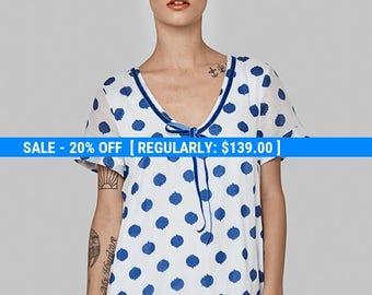 Polka dotts Omega cotton dress -day sun dress - short sleeve dress- frill knee length  loose tunic- cotton dress - sexy oversize dress