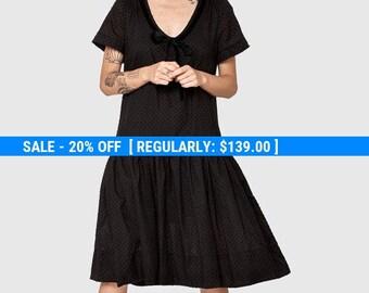 Black  dotted Omega dress - short sleeve dress- frill knee length dress- loose tunic- cotton dress- loose top - sexy dress- oversize dress