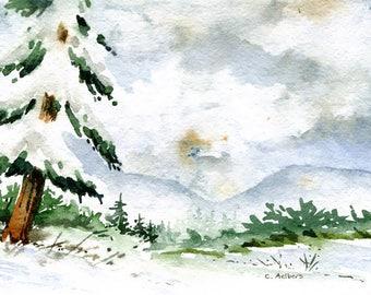 Winter Storm Landscape Painting Original Watercolor
