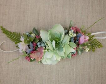 Skinny Stretch Flower Headband - Mint Berry White & Blue with Greenery - m2m Well Dressed Wolf - Dollcake - Tutu DuMonde - Wedding - Flower
