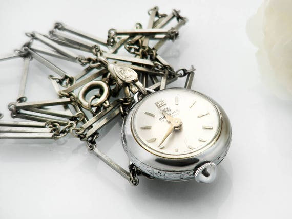 Bucherer Vintage Pendant Ball Watch | Working Mechanical Orb or Bubble Watch | Exposed Mechanism | Vintage Cocktail Watch - 28 Inch Chain