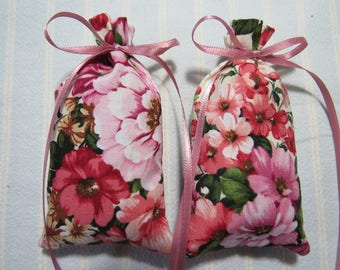 "Shades of Pinks 4""X2"" Sachet-'Blossom' Fragrance-Pink/Green Floral Sachet-Cotton Fabric Herbal/Botanical Sachet-Cindy's Loft-551"