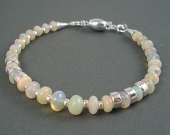 Opal Bracelet, Ethiopian Fire Opals, Sterling Silver Beads and Clasp Fire Opal Bracelet, Fire Opal Jewelry