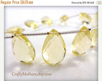 8% off SHOP-WIDE, LEMON Hydro Quartz Faceted Pear Briolettes, 8mm x 16mm - (1) Matched Pair, neutral, pale yellow earring