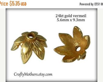 8% off SHOP-WIDE, 2 Bali 24kt Gold Vermeil Double Leaf Bead Caps, 5.6mm x 9.3mm (bright gold finish), Artisan-made