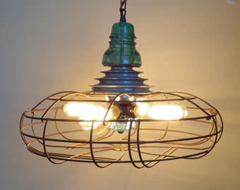INDUSTRIAL LIGHT Chandelier with Glass Vintage TEAL Insulator & Vintage Pulley - Ceiling Lighting Fixture Flush Mount by Lamp Goods
