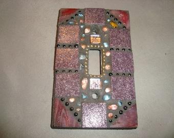 MOSAIC Light Switch Plate -  Single Switch, Wall Plate, Wall Art, Purple, Plum, Gold, Lavender