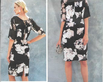 Vogue American Designer Pattern V1578 Tracy Reese Feminine Fitted Dress with Shirred Bodice and Skirt, Elbow Length Sleeves Misses' 6 - 14