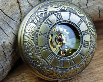 Premium Bronze Pocket Watch, Watch Chain, Mechanical Gears, Steampunk, Engravable, Groomsmen Gift, Gift Boxed - Item MPW044