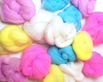 Unicorn Milkshake  - Pixie Puffs  - fiber art batt set to spin or felt - Merino Wool with sparkle - 4 oz
