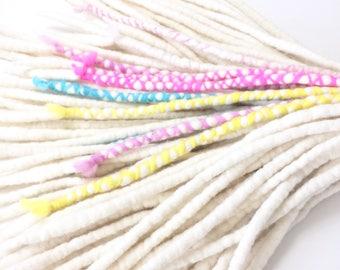 Snow - Wool Dreadlocks - Set of 64 - with Unicorn Milkshake handspun wraps