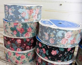 Vintage Ribbon, Calico Ribbon, Craft Ribbon Floral Print Cotton Ribbon for Bows, Crafts, Sewing, Lot of 10 spools Cottage Chic Floral Ribbon