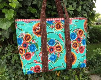 The Veracruz--large oilcloth tote bag with Mexican flowers on aqua