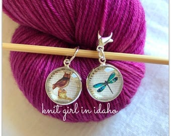 Owl and Dragonfly Stitch Marker & Progress Keeper (Set of 2)