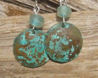 Handmade Copper Earrings Small Disc Blue Patina and Seaglass Lampwork Beads