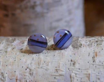 stud earrings, purple earrings, post earrings, posts, studs, circle earrings, handmade earrings, unique earrings, unique post earrings