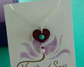 Hand Carved Heart Necklace in Purpleheart Wood with Sterling Silver, Turquoise, Garnet, and Pearl with Sterlng Silver Chain, One of a Kind