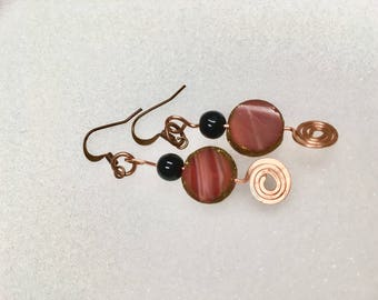 Red stone and Copper Coil Earrings