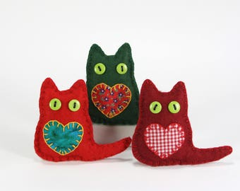 cat christmas ornaments felt christmas ornaments christmas cat decorations handmade felt cats
