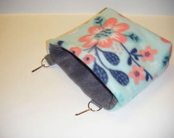 Sugar Glider Pouch, Cage Pouch, Cage Accessory, Grey Fleece, Fleece Tabs, Hamster Pouch, CooperStudios