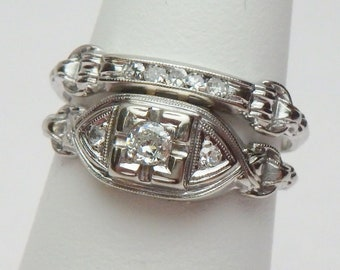 18 Kt Art Deco 0.15 Ctw Diamond Wedding Set White Gold 1920s