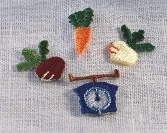 Vegetable Patch - Embroidered Iron On Patch, Carrot, Turnip, Measure, Kawaii Japanese Iron on Applique, Embroidery Applique, 4PCS, W332