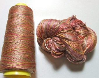 100% Pure Mulberry Queen Silk Yarn 50 gram 3 Ply Lace Weight Desert Morning QS023 Lot L - Hank or Cone