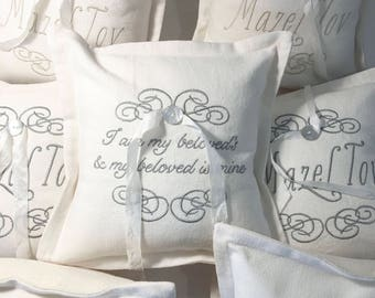 SALE: Heirloom Embroidered Ring Bearer Pillow