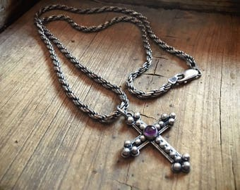Vintage Mexican silver cross necklace amethyst pendant and thick silver rope chain, Gothic jewelry, sterling silver necklace