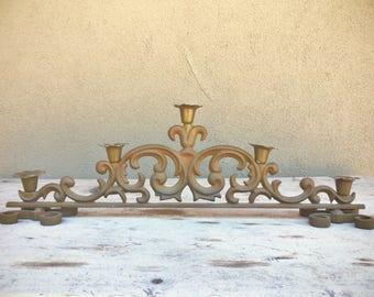 Heavy cast iron candle holder centerpiece, Spanish decor, Gothic candelabra, fireplace candelabra, French Country decor, wedding candelabra