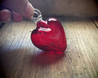 Vintage red blown glass heart ornament from Mexico Christmas decorations