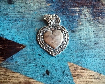 Sacred Heart Charm, Silver Heart Milagro, Valentines Day Gift for Catholic Woman, Heart Jewelry, Catholic Icon, Mexican Milagros Heart