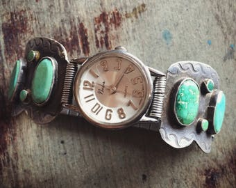 Fred Harvey Era Turquoise Watch Band with Vintage Watch for Women, Native American Style