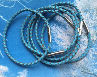 high quality 5pcs 7 inch 3mm Blue Braided GENUINE leather necklace cords/bracelet cords with silver stainless needle clasps