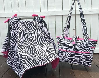 Diaper bag set: includes, custom diaperbag, car seat canopy and changing pad in zebra and pink.
