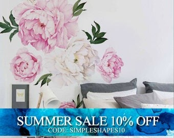 Peony Flower Wall Sticker, Vivid Pink Watercolor Peony Wall Stickers - Floral Peel and Stick Repositionable Stickers