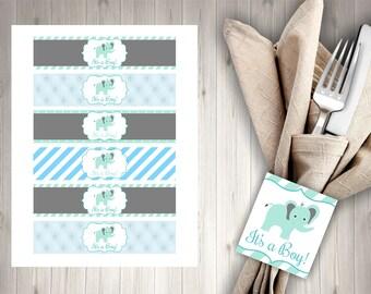 Elephant Blue Baby Shower Napkin Rings/Elephant Napkin Ring, Boy Baby Shower, Instant Download