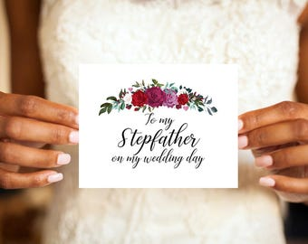 To my Stepfather on my wedding day, Stepfather Card, Stepfather, Wedding day card