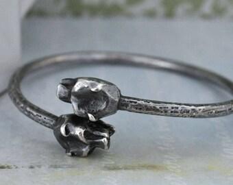 vintage twin head cat bangel, leopard bangle, solid sterling silver bracelet, LEOPARD BANGLE, large bangle, solid bangle, stacking bangle,